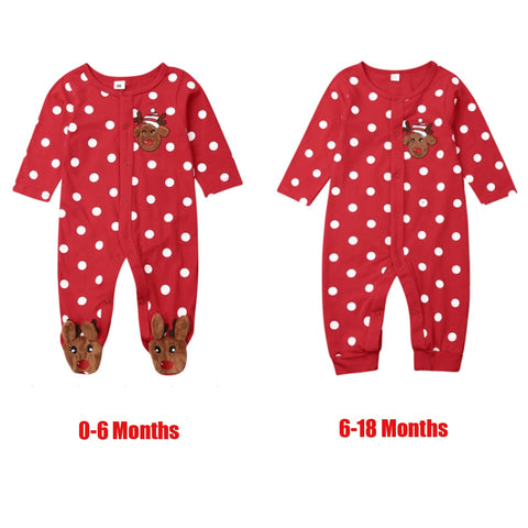 Baby Boy Girl Xmas Polka Dot Deer Jumpsuit