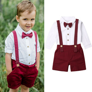 Boy Baby Boy Gentlemen White Top Red Shorts Set