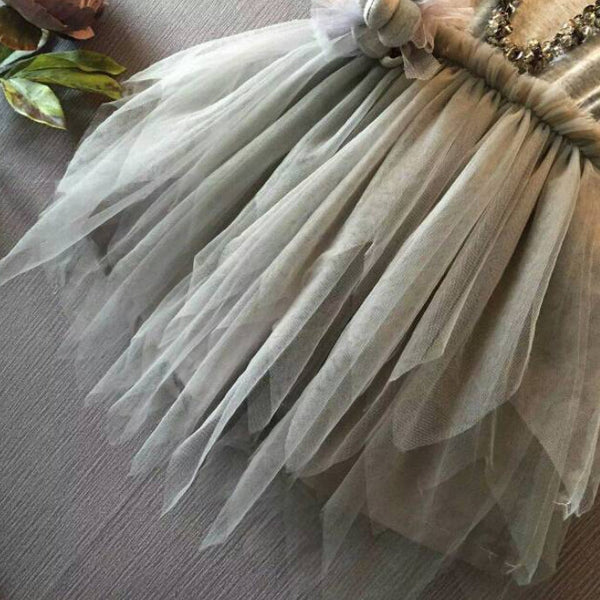 Cute Vintage Grey Sleeveless Tulle Party Dress
