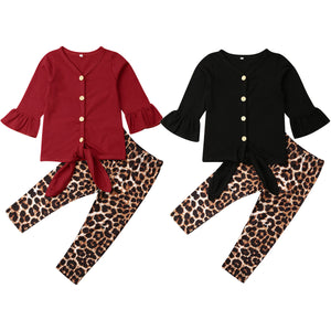 2-piece Baby / Toddler Girl Solid Top and Leopard Print Pants Set