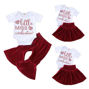 Baby Girl Valentine Letters Pants Skirt Set