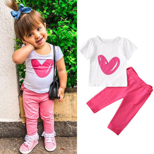 Girl Baby Girl Pink Heart Pant Set