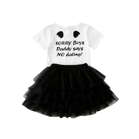 Girl Baby Girl Cute Letter Lace Tutu Dress Set