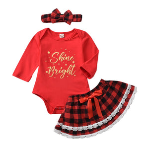Girl Baby Girl Seasonal Shine Bright Plaid Dress Set