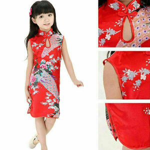 Girl Baby Girl Colorful Cheongsam Dress