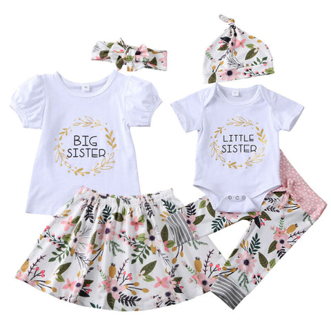 Girl Baby Girl Little Sister Big Sister Floral Family Matching Set