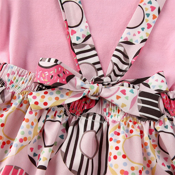 Baby Girl Short Sleeve Donut Strap Skirt
