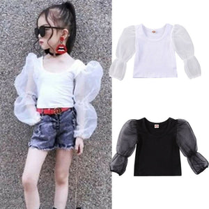 Girl Baby Girl Lace Puff Sleeve Top Blouse