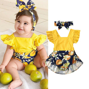Summer Lemon Ruffle Bodysuit