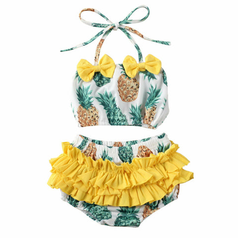 Girl Baby Girl 2-piece Cute Pineapple Swimsuit Set