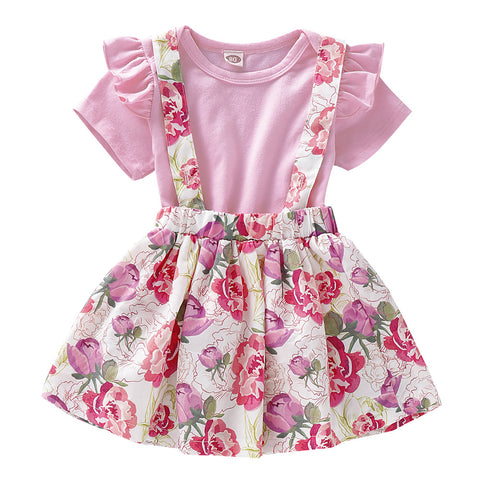 Lovely Pinky Flowers Party Dress Set