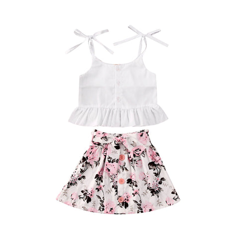 Summer Sling Tops Vest Floral Dress Set