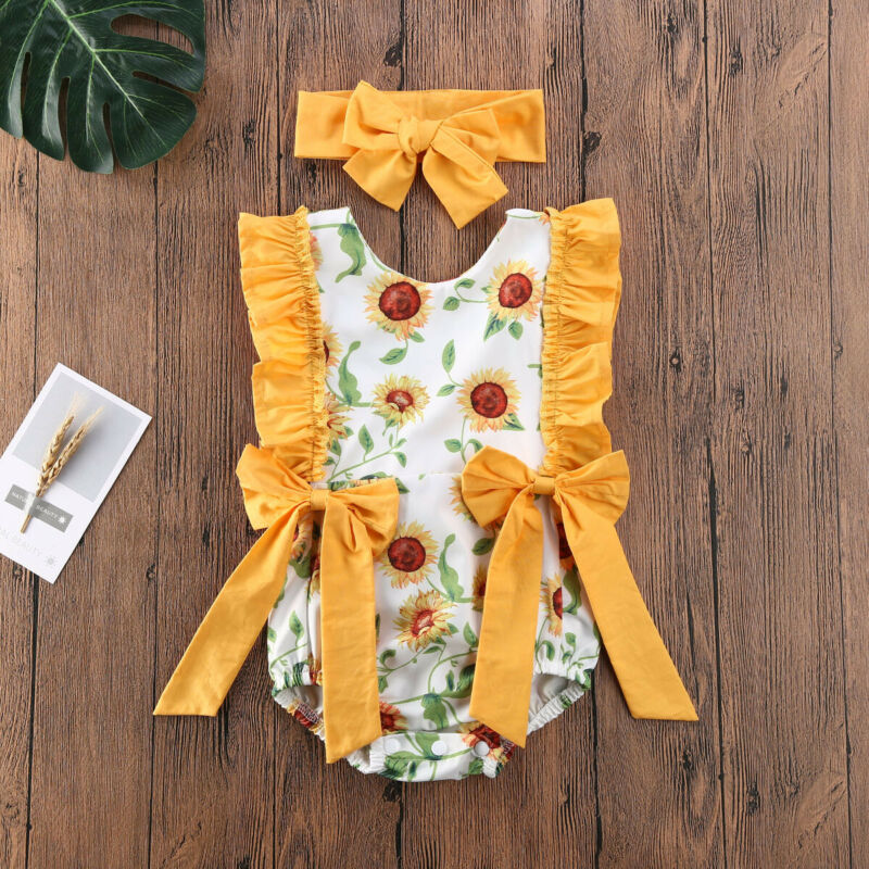 Cute Sunflower Bodysuit Set