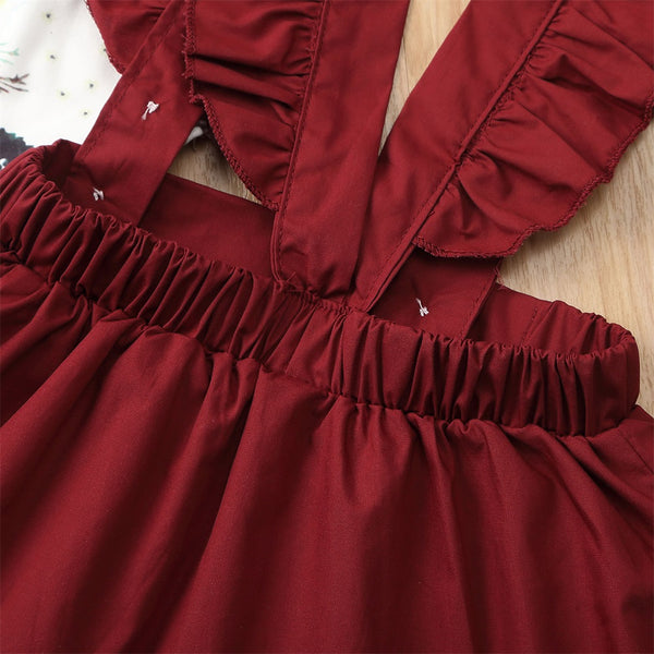 Floral Strap Red Skirt Romper Set