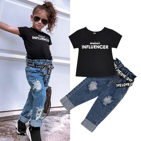 Letters Black T-Shirt Denim Pants Set