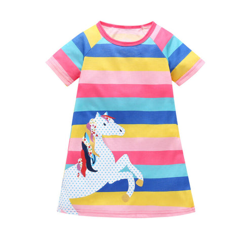Striped Rainbow Unicorn Dress