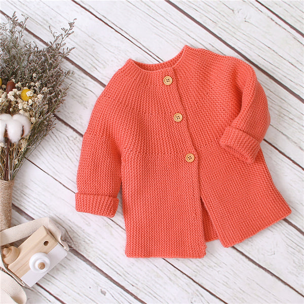 Solid Knitted Long Sleeve Cardigan Button Outwear