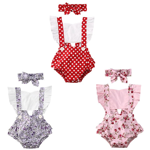 Adorable Baby Girl Ruffled Romper Set