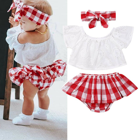 Lovely Off Shoulder Red Plaid Set
