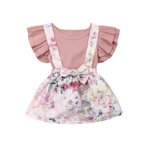 Pink Ruffle Sleeveless Floral Skirt Set