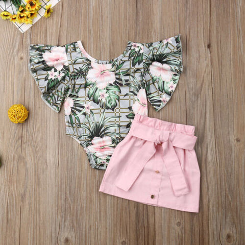 2-piece Baby / Toddler Girl Pink Flowers Print Green Top Pink Dress Set