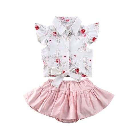 Sweet White Floral Top Tutu Pink Dress Set