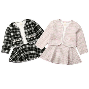 2-piece Baby / Toddler Girl Fashionable Formal Plaid Tops Skirt Set