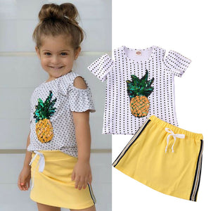 Sequin Pineapple Polka Dot Dress Set