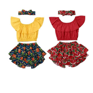 Summer Ruffle Tops And Shorts Set
