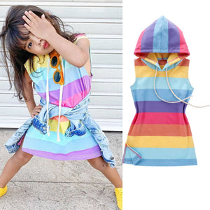 Rainbow Striped Dress Hoodie