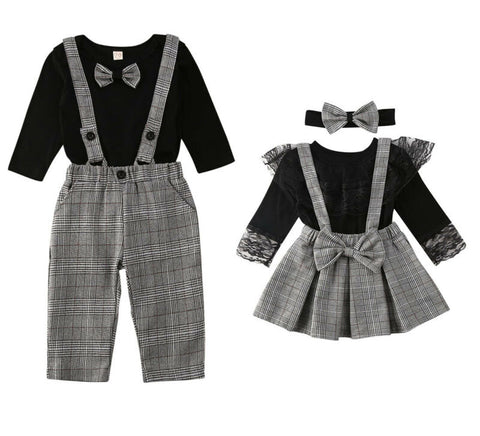 Little Brother Big Sister Plaids Family Matching Set