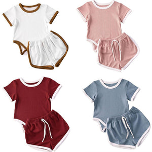 Cute Solid Short Sleeve Sport Set