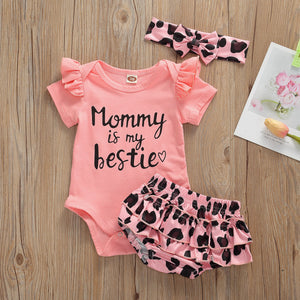 "Lovely ""Mommy is my bestie""  Romper Tutu Shorts Set"