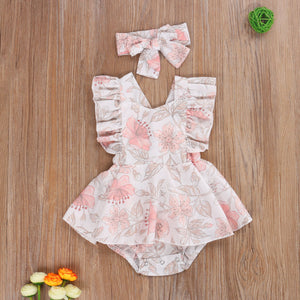 Baby Girls Floral Fly Sleeves Bodysuits