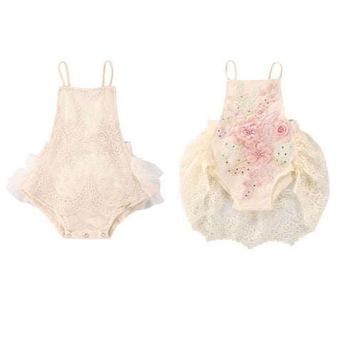 Baby Girls Lace Flowers Bodysuits Sister Matching Set