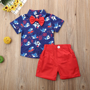 Cool Shark Red Shorts Set