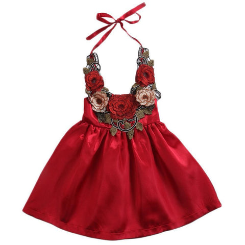 Girl Baby Girl Dress Red Rose Party
