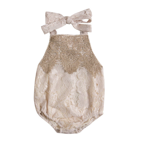 Baby Girl Romper Beige Outfit
