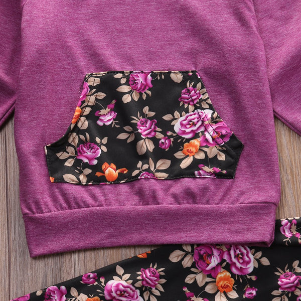 Girl Baby Girl Purple Set Floral