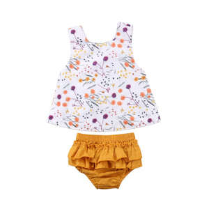 Baby Girl Set Ruffle Flowers