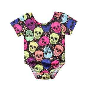 Baby Girl Boy Jumpsuit Coloful Skulls