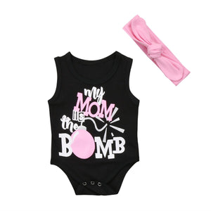 Baby Girl Jumpsuit Mom Bomb