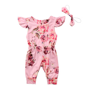 Girl Baby Girl Jumpsuit Summer Flora Pink