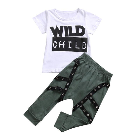 Kids Baby Girl Boy Set Wild Child