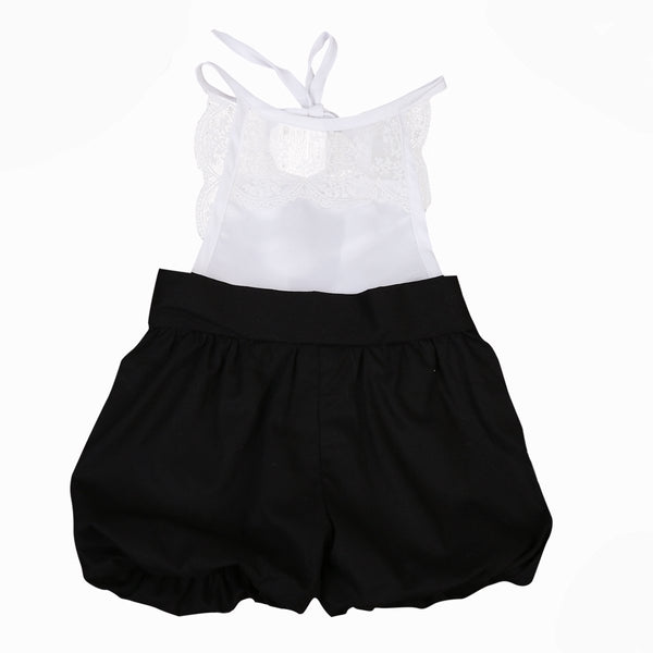 Girl Baby Girl Romper White And Black