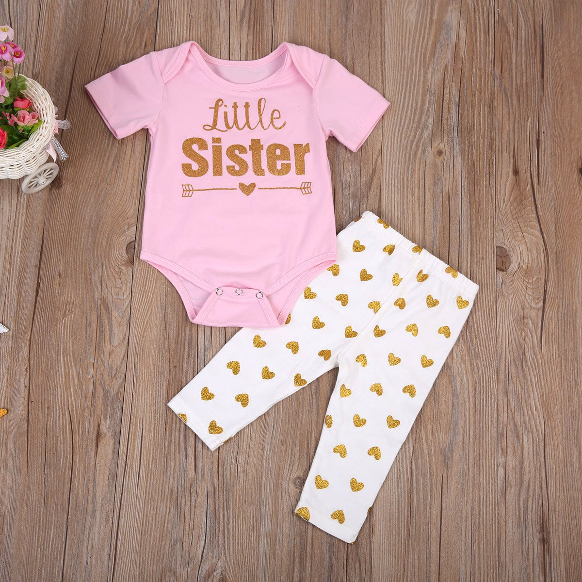 Girl Baby Girl Lovable Sister Matching Set