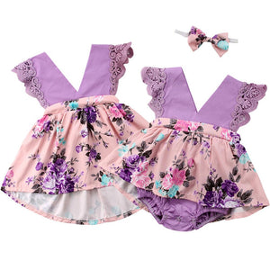 Girl Baby Girl Purple Matching Dress Jumpsuit