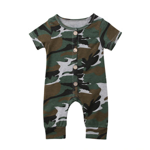 Boy Baby Boy Camouflage Romper James