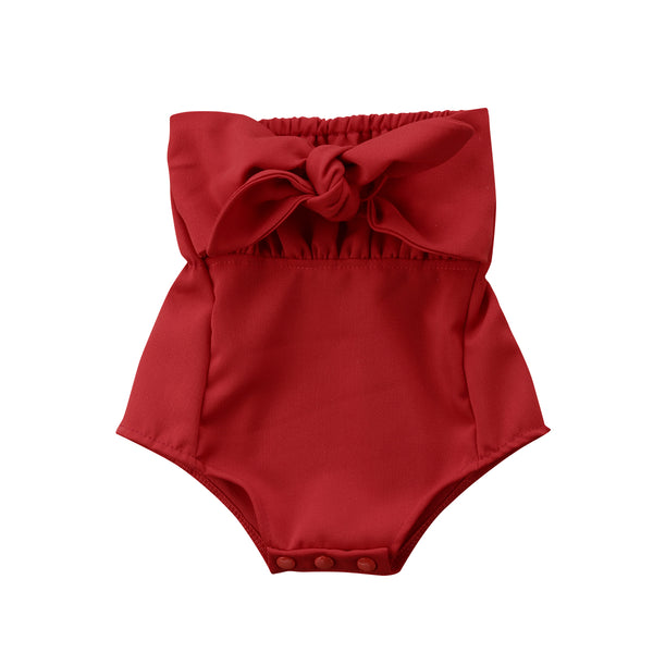 Girl Baby Girl Red Bow Knot Jumpsuit