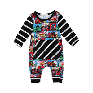 Kids Baby Boy Girl Cartoon Heroes Romper